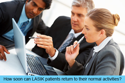 How soon can LASIK patients return to their normal activities?